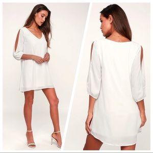 Lulu's Shifting Dears Ivory White Dress